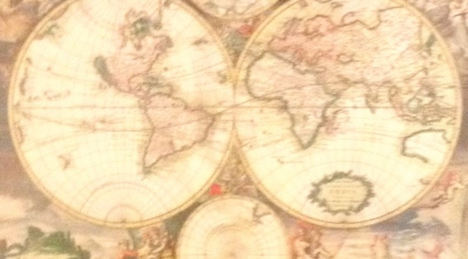 Old World Map Wall Art Feature