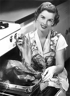 Happy Thanksgiving 1950s Woman With Turkey