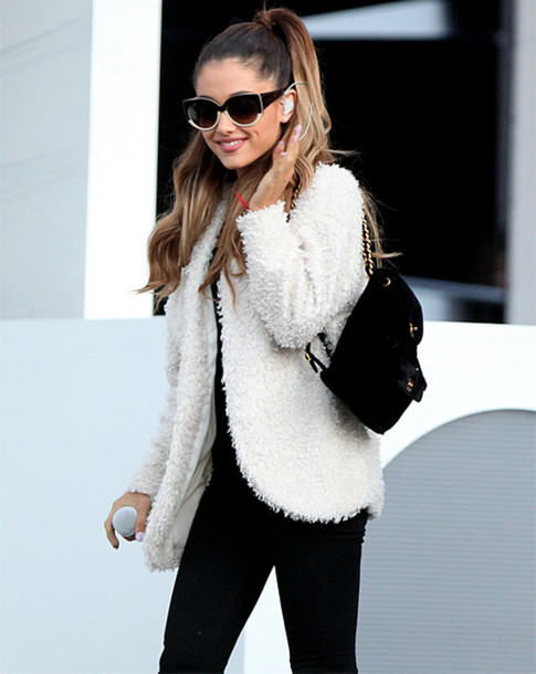 Ariana Grande White Fur Soft Jacket High Ponytail Round White Glasses