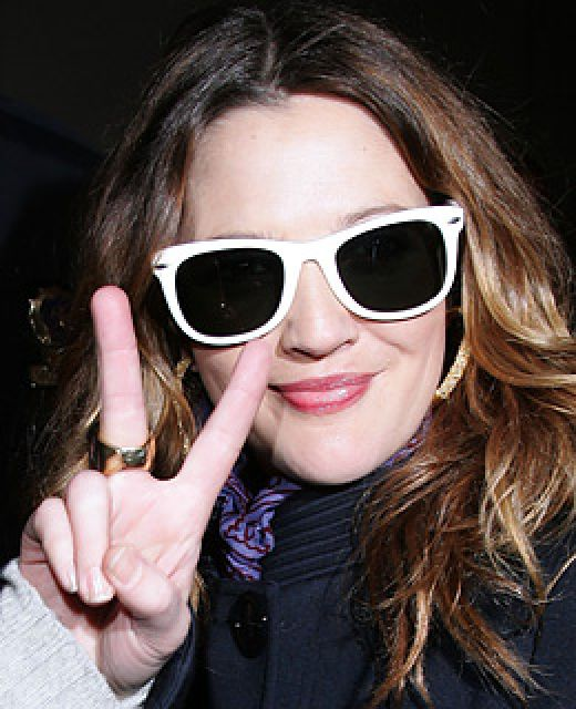 Drew Barrymore in White Wayfarers