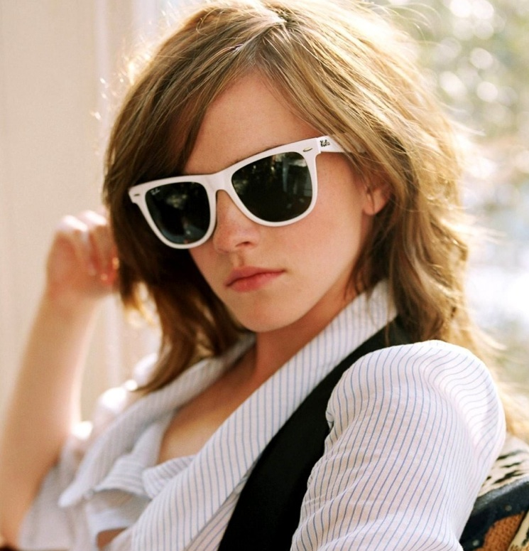 Emma Watson in White Rayban Wayfarers