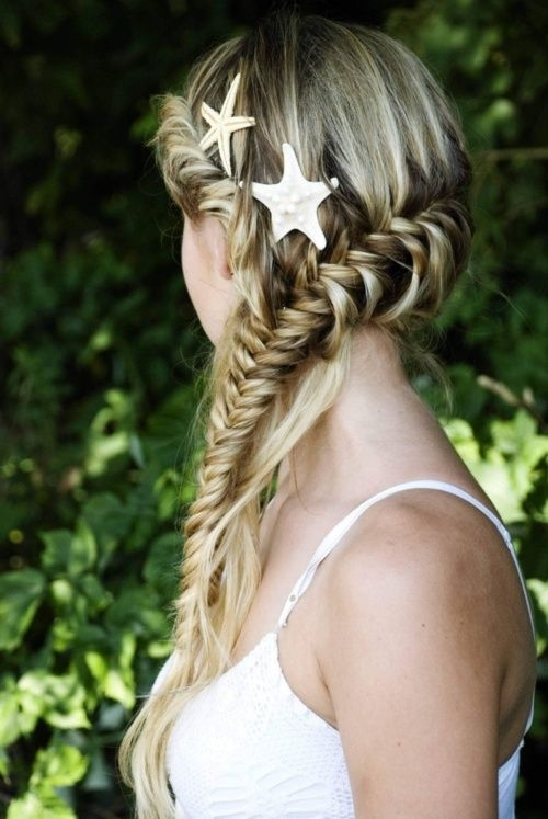 Fishtail and Crown Mermaid Braid on Blonde with Starfish Shells