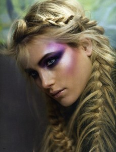 Mermaid Braid Crown Blonde with Purple Eyeshadow