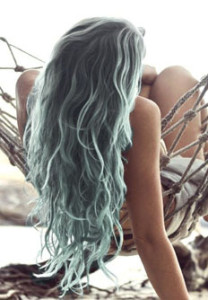 Pale Blue Pastel Ends Mermaid Hair in Hammock