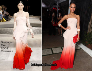 Zoe Saldana Ombre Gown Givenchy Fall 2009 Oscar Party