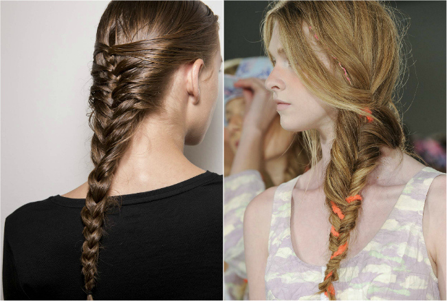 Mermaid braid examples. Left is standard, right is sideswept.