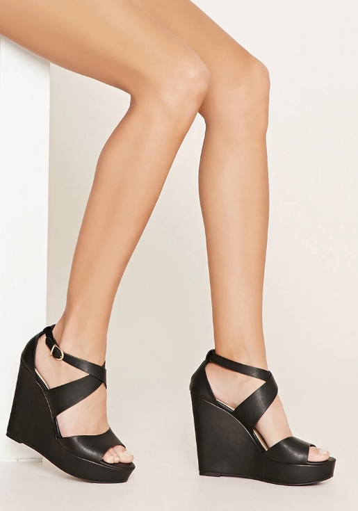 black wedge heel shoes forever 21 faux leather dote