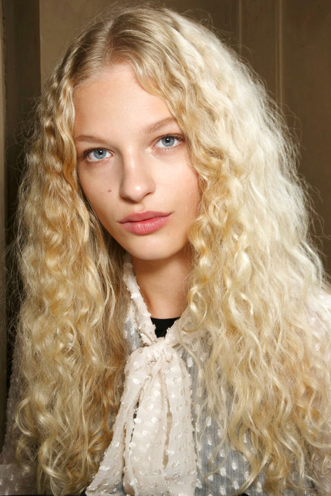 Blonde Unstyled Curls Curly Hair Model