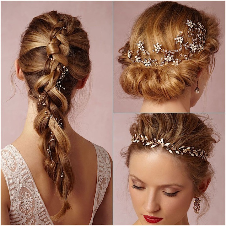 Hair accessories on braids crown hair jewelry hairstyles