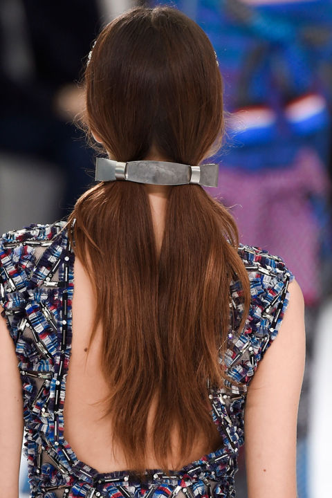 Sweet n Low pigtails model runway big silver barrette