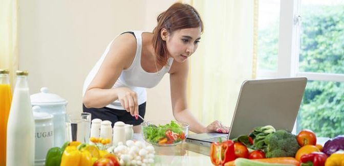 young woman healthy eating