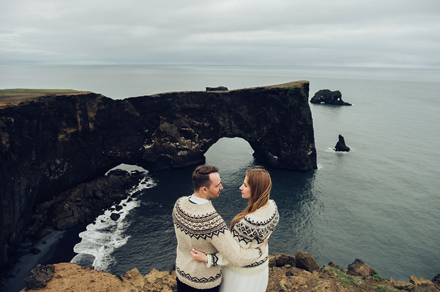 Wedding on Irish cliffs sweaters cold travel destination bridal