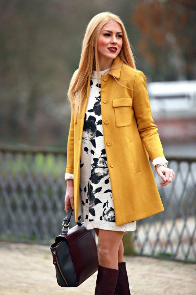 yellow blazer coat with dress blonde