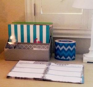 My desk with Kleenex Expressions Oval Round Chevron Blue