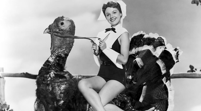 Happy Thanksgiving 1950s woman on turkey