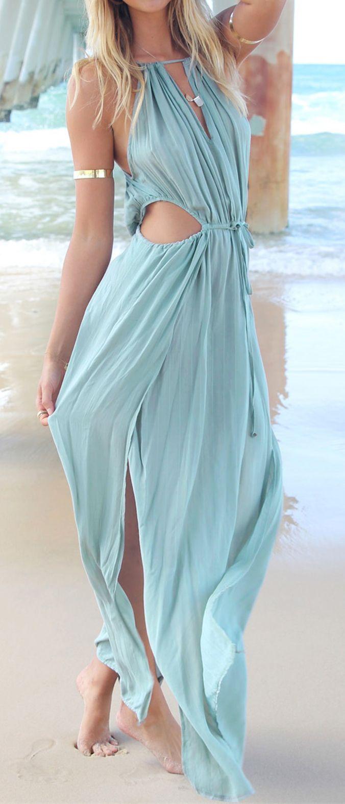 Mermaid Maxi Dresses Light Blue