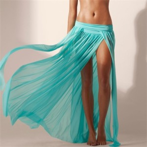 Mermaid Maxi Skirt with Slits Aqua