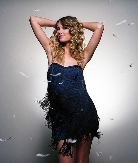 Taylor Swift Foley Corinna strapless ombre fringe dress