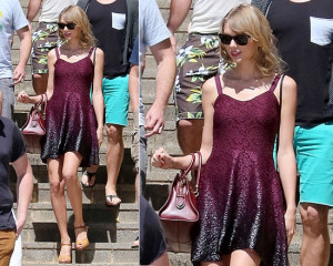 Taylor Swift Free People Foil Ombre Lace Fit-And-Flare Dress in Perth