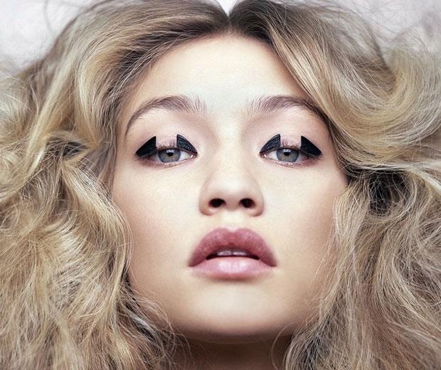 gigi hadid high fashion haute couture eye makeup black eyeshadow geometric
