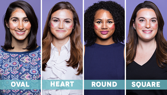 how-to-contour-face-shape-oval heart round square
