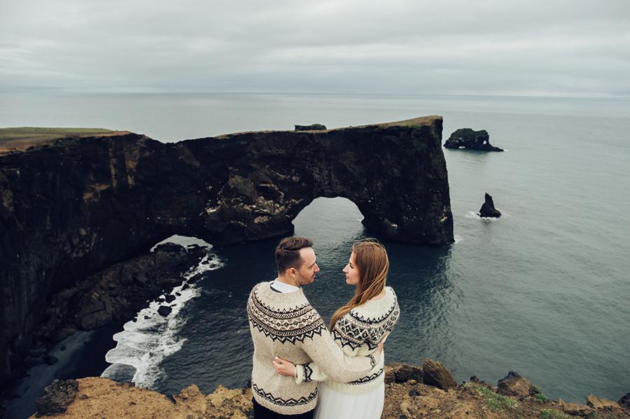 Wedding on Irish cliffs sweaters cold travel destination bridal