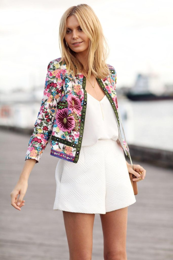 floral blazer outfit with a white romper beach