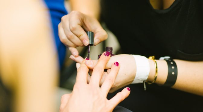 woman doing nails business
