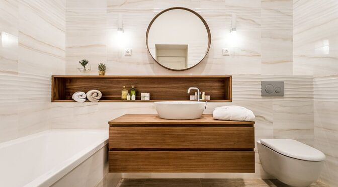 Minimal-and-modern-white-bathroom-with-wood-sections-and-vanity